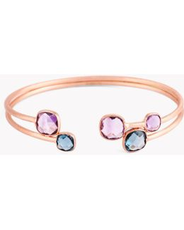 14k Rose Gold Belgravia Bangle With Amethyst And London Blue Topaz