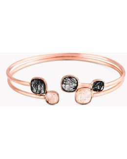 14k Rose Gold Belgravia Bangle With Gold And Black Rutilated Quartz