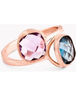 14k Rose Gold Belgravia Double Ring With Amethyst And London Blue Topaz