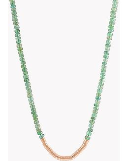 Bamboo Emerald 18k Gold Necklace