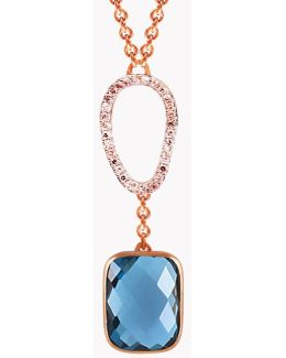 14k Rose Gold Chelsea Necklace With London Blue Topaz & White Diamond