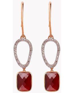 14k Rose Gold Chelsea Earrings With Garnet & White Diamonds
