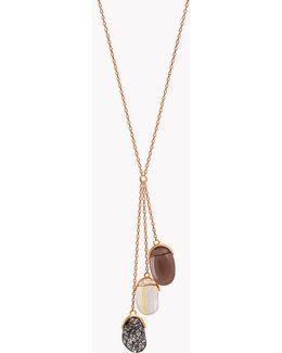 18k Rose Gold Mayfair Three Quartz Stones Necklace