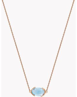 18k Rose Gold Mayfair Single Stone Necklace With Blue Topaz