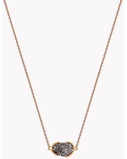 18k Rose Gold Mayfair Single Stone Necklace With Black Rutilated Quartz