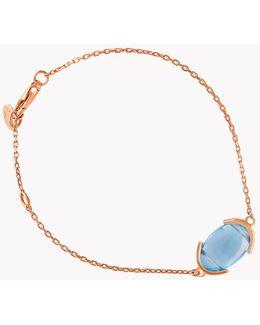 18k Rose Gold Mayfair Single Stone Bracelet With Blue Topaz