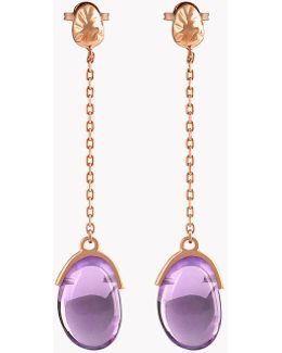 18k Rose Gold Mayfair Long Earrings With Amethyst