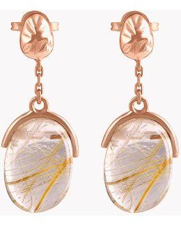 18k Rose Gold Mayfair Short Earrings With Gold Rutilated Quartz