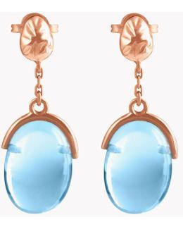 18k Rose Gold Mayfair Short Earrings With Blue Topaz