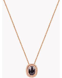 18k Rose Gold Black Diamond Vintage Necklace