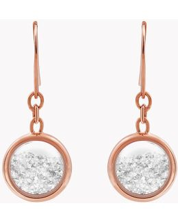 Diamond Dust Silver Earrings With Rose Gold Finish