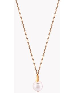 18k Rose Gold South Sea Baroque Pearl Drop Necklace With 1 Pearl