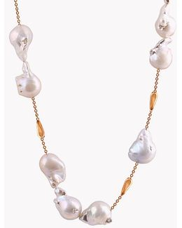18k Rose Gold South Sea Baroque Pearl Drop Necklace With 12 Pearls