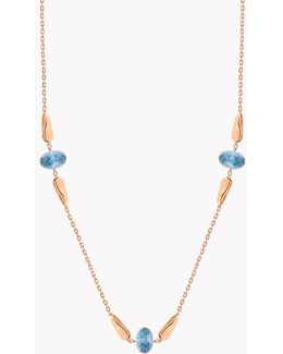 18k Rose Gold Teardrop Necklace With London Blue Topaz - 10.15 Ct