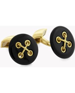 Button Round Cufflinks With White Mother Of Pearl & 18k Gold