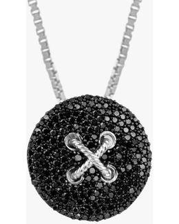 Button Pavé Silver Pendant