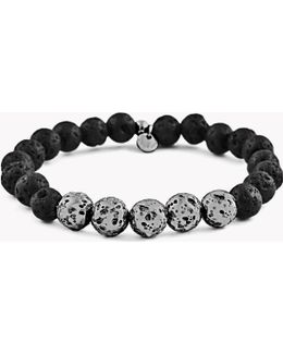 Asteroid & 5 Silver Beads Bracelet