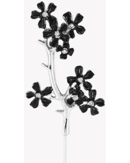 Sakura Pin With Black Enamel And Swarovski Elements
