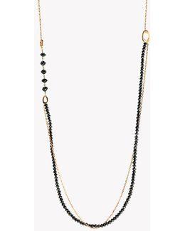 18k Rose Gold Black Diamonds Bead Necklace - (19.57ct)