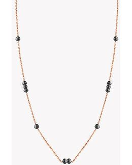 18k Rose Gold Black Diamonds Necklace - (6.43ct)