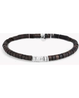Bamboo Bracelet With Ebony Wood And Silver Discs