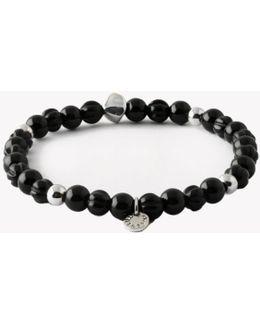 Saakshar Black Agate Beaded Bracelet