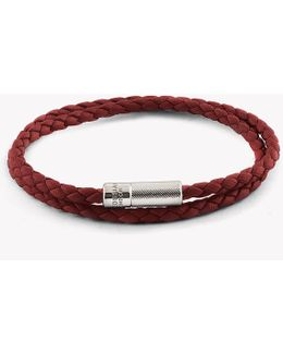 Double Wrap Pop Rigato Leather Bracelet With Silver Clasp