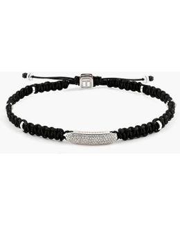 Macrame Diamond Baton Silver Bracelet