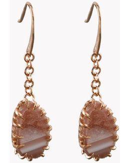 Geode Long Drop Silver Earrings In Pink