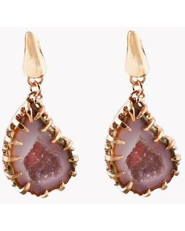 Geode Short Drop Silver Earrings In Pink