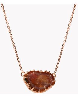 Geode Short Silver Necklace In Pink