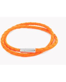 Double Wrap Scoubidou Leather Bracelet In Flou Orange