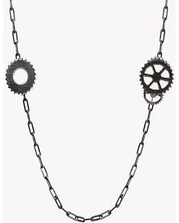 Double Gears Silver Necklace