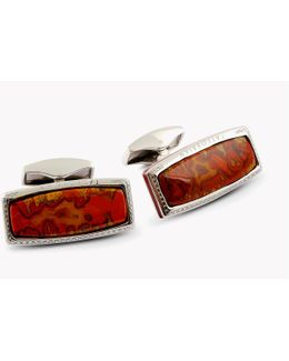 Stones Of The World - Rectangular Silver Moroccan Agate (limited Edition - 1 Pair)