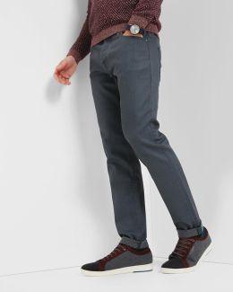 Straight Fit Printed Hem Jeans