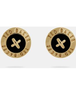 Enamel Button Stud Earrings