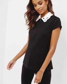 Embroidered Collar Front-zip Top