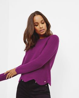 Scalloped Edge Ribbed Sweater