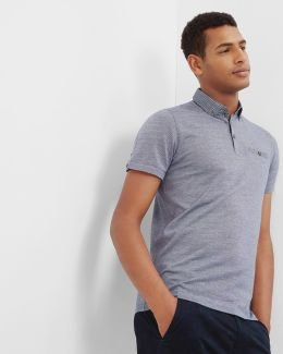 Woven Collar Cotton Polo Shirt