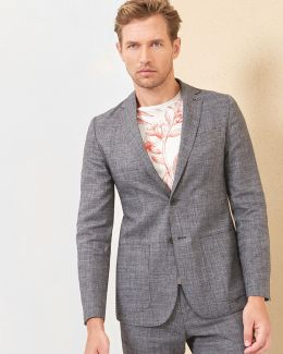 Cross Hatch Linen Blazer