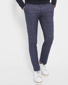 Checked Linen And Cotton-blend Trousers