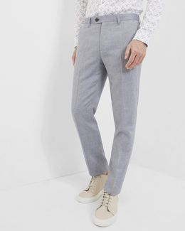 Cotton And Linen-blend Suit Trousers