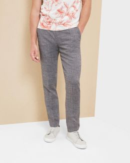 Crosshatch Linen-blend Pants