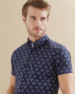 Flake Geo Printed Regular Fit Button-down Shirt