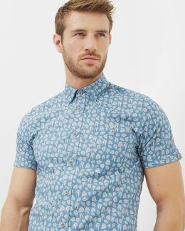 Leaf Print Cotton Shirt
