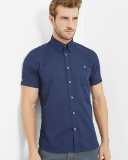 Checked Textured Cotton Shirt