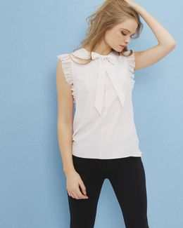 Bow Tie Silk Frilled Top