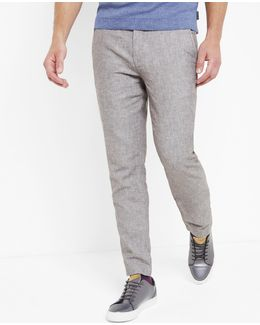 Linen-blend Slim Fit Trousers