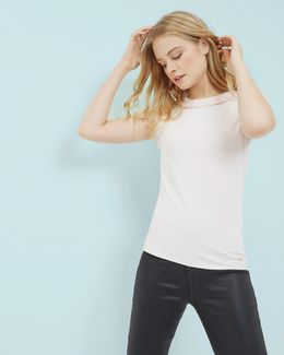 Frill Neck Fitted T-shirt