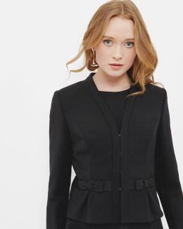 Bow Detail Cropped Suit Jacket